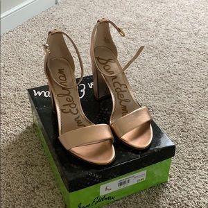 Sam Edelman blush gold leather heels